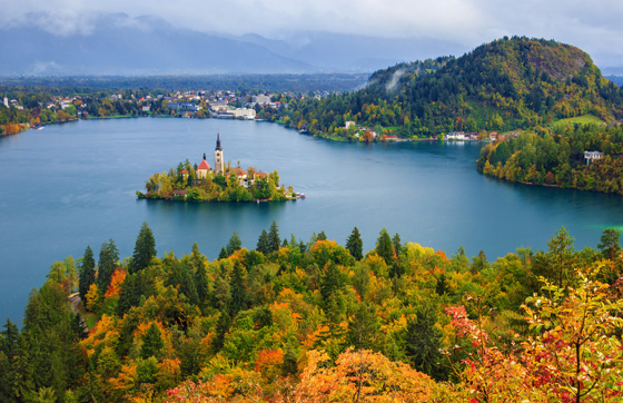 Bled with lake, island and mountains in background, Slovenia